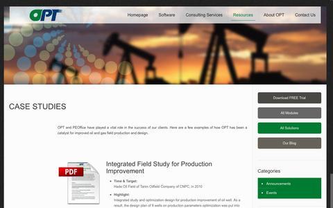 Screenshot of Case Studies Page optpt.com - Case Studies – Optimization Petroleum Technologies - captured Oct. 4, 2016