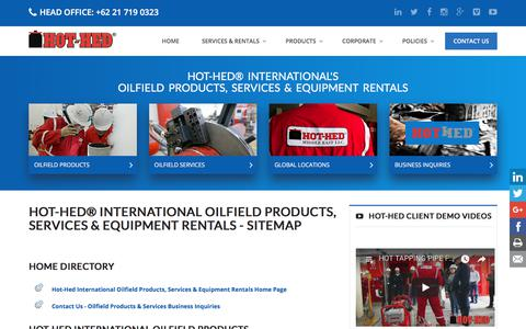 Screenshot of Site Map Page hot-hed.com - Oilfield Services & Products | Pressurized Habitat | Oilfield Equipment Rentals | Oil Tool Rentals | Hot-Hed® Intl Oilfield Services - captured Sept. 24, 2018