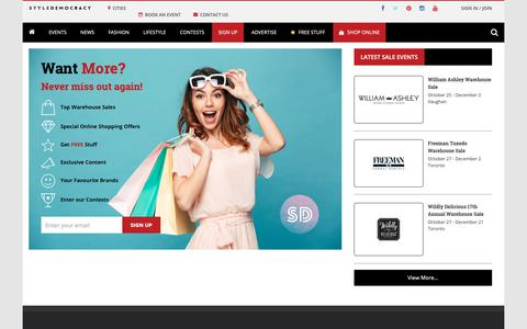 Screenshot of Signup Page styledemocracy.com - Sign Up | 2018 Toronto Warehouse Sales - Montreal & Accross Canada | Styledemocracy - captured Nov. 13, 2018