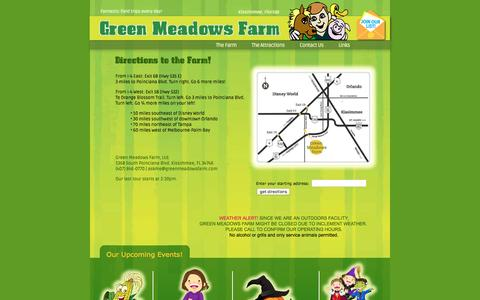 Screenshot of Contact Page Maps & Directions Page greenmeadowsfarm.com - Green Meadows Farm Kissimmee Driving Directions - captured May 7, 2016