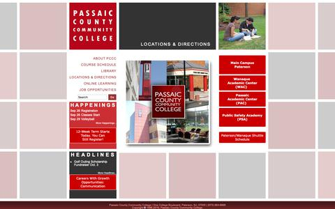 Screenshot of Locations Page pccc.edu - Locations& Directions - captured Sept. 27, 2018