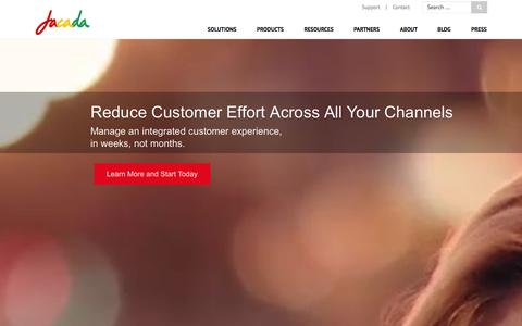 Screenshot of Home Page jacada.com - Jacada.com Customer Service. Simplified. | Jacada - captured Jan. 9, 2016