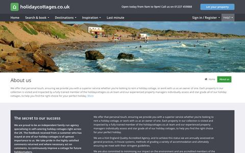 Screenshot of About Page holidaycottages.co.uk - About Us - holidaycottages.co.uk - captured Jan. 19, 2016