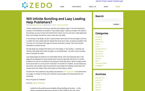 Screenshot of Blog zedo.com - ZEDO blog : ZEDO, Inc. - captured Sept. 19, 2014