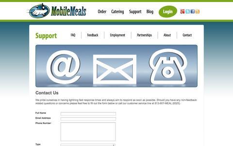 Screenshot of Contact Page mobilemeals.com - Contact - captured Oct. 26, 2014