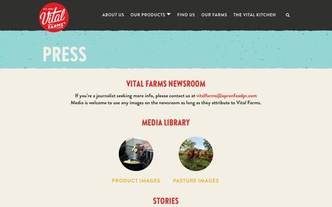 Screenshot of Press Page vitalfarms.com - Press   Vital Farms - captured Nov. 7, 2019