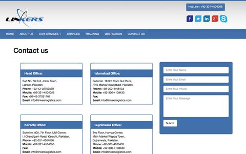 Screenshot of Contact Page linkerslogistics.com - Contact us - Linkers Logistics Packers and Movers Nationwide Office - captured Jan. 30, 2016