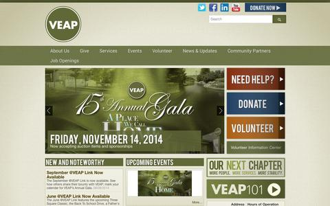 Screenshot of Home Page veapvolunteers.org - Home - VEAP - Volunteers Enlisted to Assist People - captured Oct. 9, 2014