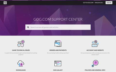 Screenshot of Contact Page Support Page gog.com - GOG.COM SUPPORT CENTER - captured Sept. 21, 2018