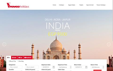 Screenshot of Home Page travcoholidays.travel - Travco Holidays: Book your holidays, hotels, Best flight rates, tours, transfers, insurance - captured Aug. 31, 2015