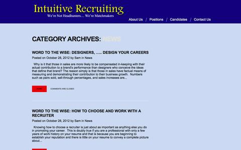 """Screenshot of Press Page intuitive-recruiting.com - Category Archive for """"News"""" 