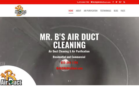 Screenshot of Home Page mrbairduct.com - Mr. B's Air Duct Cleaning | Specializing in Air Duct Cleaning & Air Purification for Residential and Commercial - captured Oct. 21, 2017