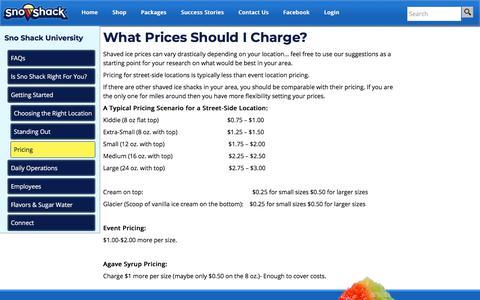 Screenshot of Pricing Page snoshack.com - Pricing - Sno Shack - captured Nov. 10, 2017
