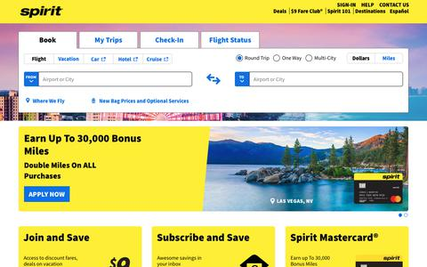Screenshot of Home Page spirit.com - Book flight tickets online with low-fare airline   Spirit Airlines - captured Jan. 1, 2020