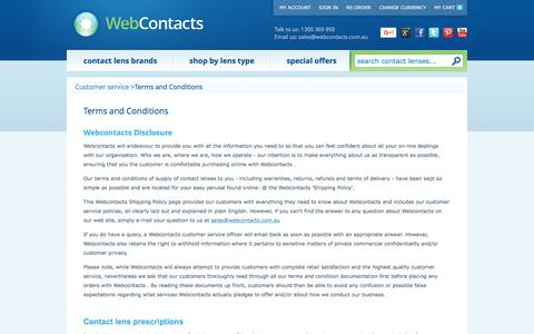 Screenshot of Privacy Page Terms Page webcontacts.com.au - Terms and Conditions of use of Webcontacts.com.au contact lens store - captured June 12, 2017