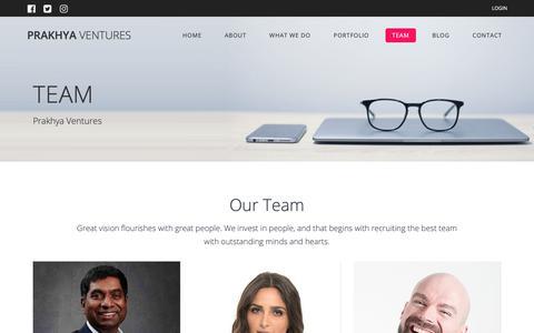 Screenshot of Team Page prakhyaventures.com - TEAM – Prakhya Ventures - captured Nov. 5, 2018