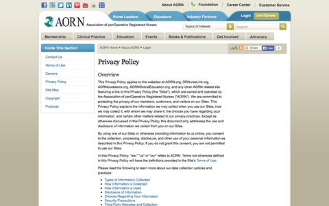 Screenshot of Privacy Page aorn.org - Privacy Policy : Association of periOperative Registered Nurses - captured Nov. 2, 2014