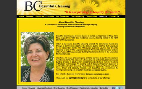 Screenshot of About Page beautifulcleaning.com - Beautiful Cleaning, Milwaukee Area | Commercial Cleaning Milwaukee Area - captured Sept. 30, 2014