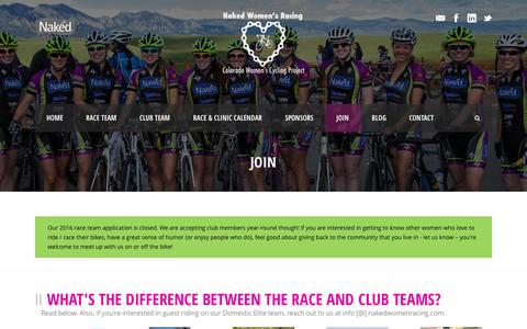 Screenshot of Signup Page nakedwomenracing.com - Naked Women's Racing  Join Naked Women's Racing Cycling Club Team Year Round - captured Jan. 29, 2016