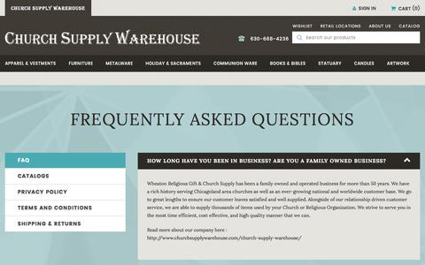 Screenshot of FAQ Page churchsupplywarehouse.com - FAQ - captured Oct. 20, 2017