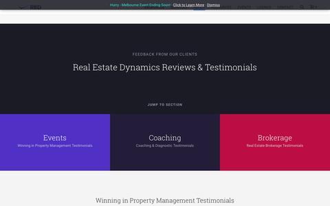 Screenshot of Testimonials Page realestatedynamics.com.au - Testimonials - Real Estate Dynamics - captured Sept. 26, 2018