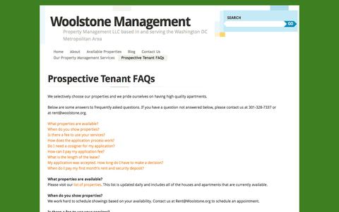 Screenshot of FAQ Page woolstone.org - Prospective Tenant FAQs | Woolstone Management - captured Oct. 9, 2014