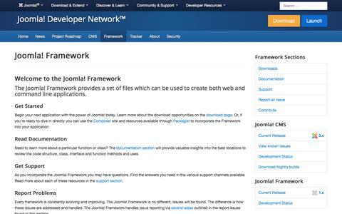 Screenshot of Developers Page joomla.org - Joomla! Framework - Create web and command line applications - captured Nov. 6, 2019