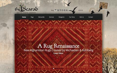 Screenshot of Home Page thescarab.com - The Scarab Online Area Rug Collection | Interior Designers Minturn, Colorado - captured Sept. 30, 2014