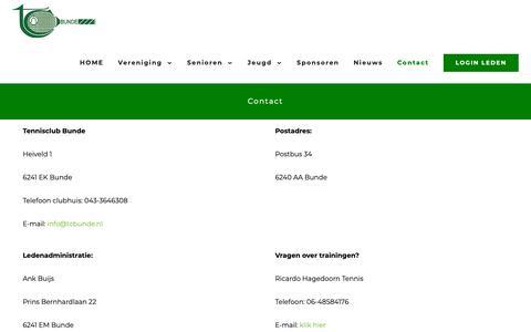 Screenshot of Contact Page tcbunde.nl - Contact – TC BUNDE - captured Oct. 23, 2018