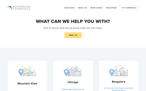 Screenshot of Contact Page boomerangcommerce.com - Contact us — Boomerang Commerce - captured Oct. 3, 2018