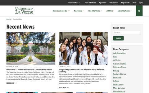 Screenshot of Press Page laverne.edu - Recent News - University of La Verne News - captured Oct. 5, 2018