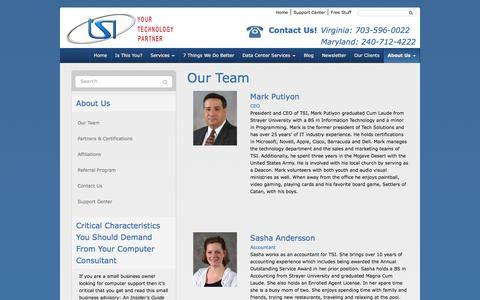 Screenshot of Team Page tsiva.com - Our Team - Woodbridge, Manassas, Arlington   TSI - Your Technology Partner - captured Jan. 12, 2016