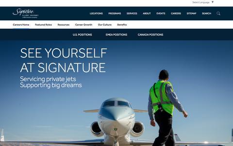 Screenshot of Jobs Page signatureflight.com - Signature Flight Support | Start Your New Career in Aviation - captured Feb. 26, 2018