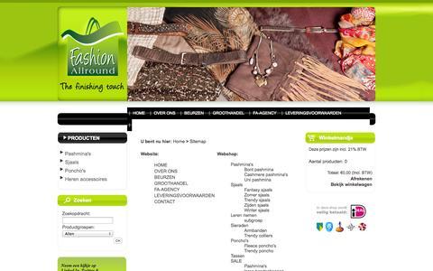 Screenshot of Site Map Page fashionallround.nl - Verkoop van mode accessoires: pashmina's, poncho's, sjaals, handtassen, riemen, handschoenen, sieraden en zonnebrillen - captured Sept. 30, 2014