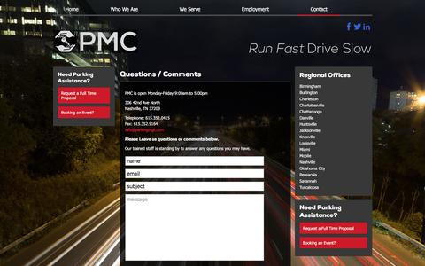 Screenshot of Contact Page runfastdriveslow.com - Questions / Comments | PMC Parking - captured Jan. 25, 2016