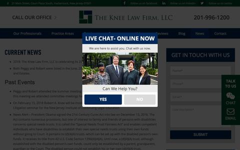 Screenshot of Press Page kneelaw.com - News, Articles & Events at the Knee Law Firm - captured Oct. 18, 2018