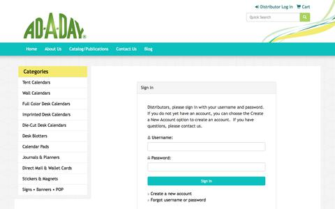Screenshot of Login Page promoplace.com - Ad-A-Day - Distributor Log In - captured Oct. 7, 2017