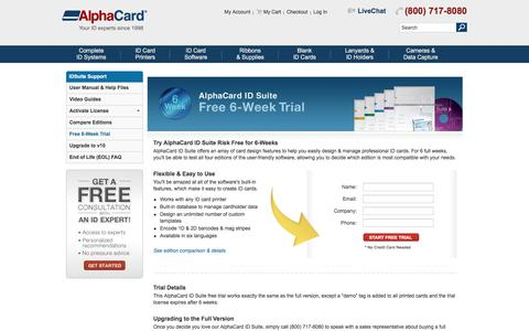 Screenshot of Trial Page alphacard.com - Free 6-Week Trial - IDSuite Support - captured July 25, 2016