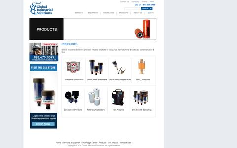 Screenshot of Products Page globalindustrialsolutions.net - Products | Global Industrial Solutions - captured July 14, 2016