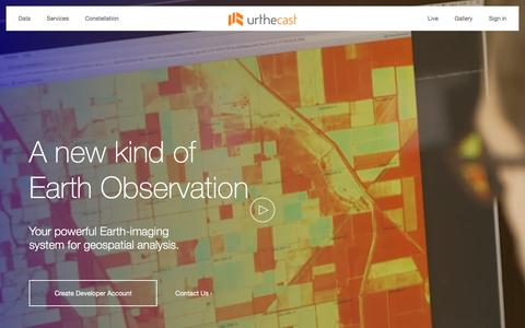 Screenshot of Home Page urthecast.com - UrtheCast - A new kind of Earth Observation - captured March 29, 2016