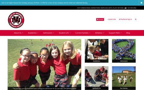 Screenshot of Home Page maryofnazareth.org - Mary of Nazareth Catholic School - captured Jan. 24, 2017
