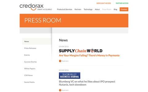 Screenshot of Press Page credorax.com - Payments News & Events | Credorax | Smart Acquiring - captured July 4, 2016