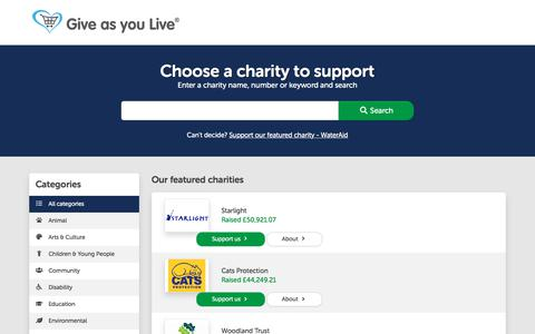 Screenshot of Signup Page giveasyoulive.com - Choose a charity to support | Give as you Live - captured July 11, 2019