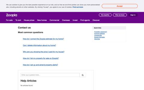 Screenshot of Contact Page zoopla.co.uk - Contact Zoopla  - Zoopla - captured May 26, 2019