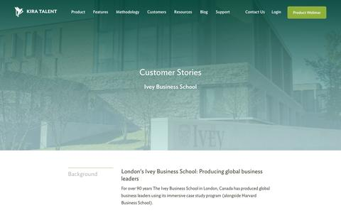 Screenshot of Case Studies Page kiratalent.com - Ivey Business School - Customer Story | Kira Talent - Video Admissions Platform - captured Oct. 21, 2016
