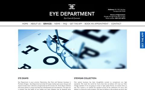 Screenshot of Services Page eyedepartment.com - Eye Exam Portland | Contact Lens Exam | Portland Eye Clinic - captured Sept. 30, 2014