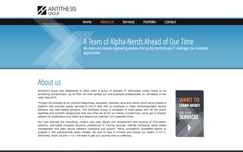 Screenshot of About Page antithesis.gr - About us | Antithesis Group - Digital agency, TYPO3 solutions, corporate web, social media, open source experts - captured Oct. 4, 2014