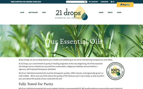 Screenshot of About Page 21drops.com - About 21 drops Essential Oils - captured June 3, 2019