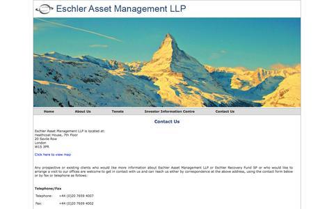 Screenshot of Contact Page eschlerasset.com - Eschler Asset Management LLP - captured Oct. 2, 2014