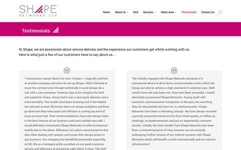 Screenshot of Testimonials Page shapenetworks.com - Testimonials - Shape Networks - captured Oct. 29, 2014